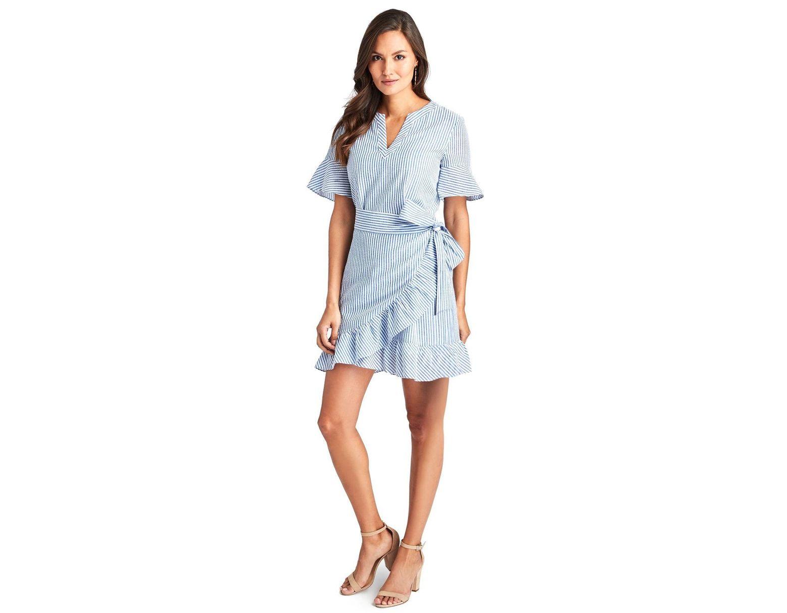 a0ef87a792 Vineyard Vines Seersucker Wrap Dress in Blue - Lyst