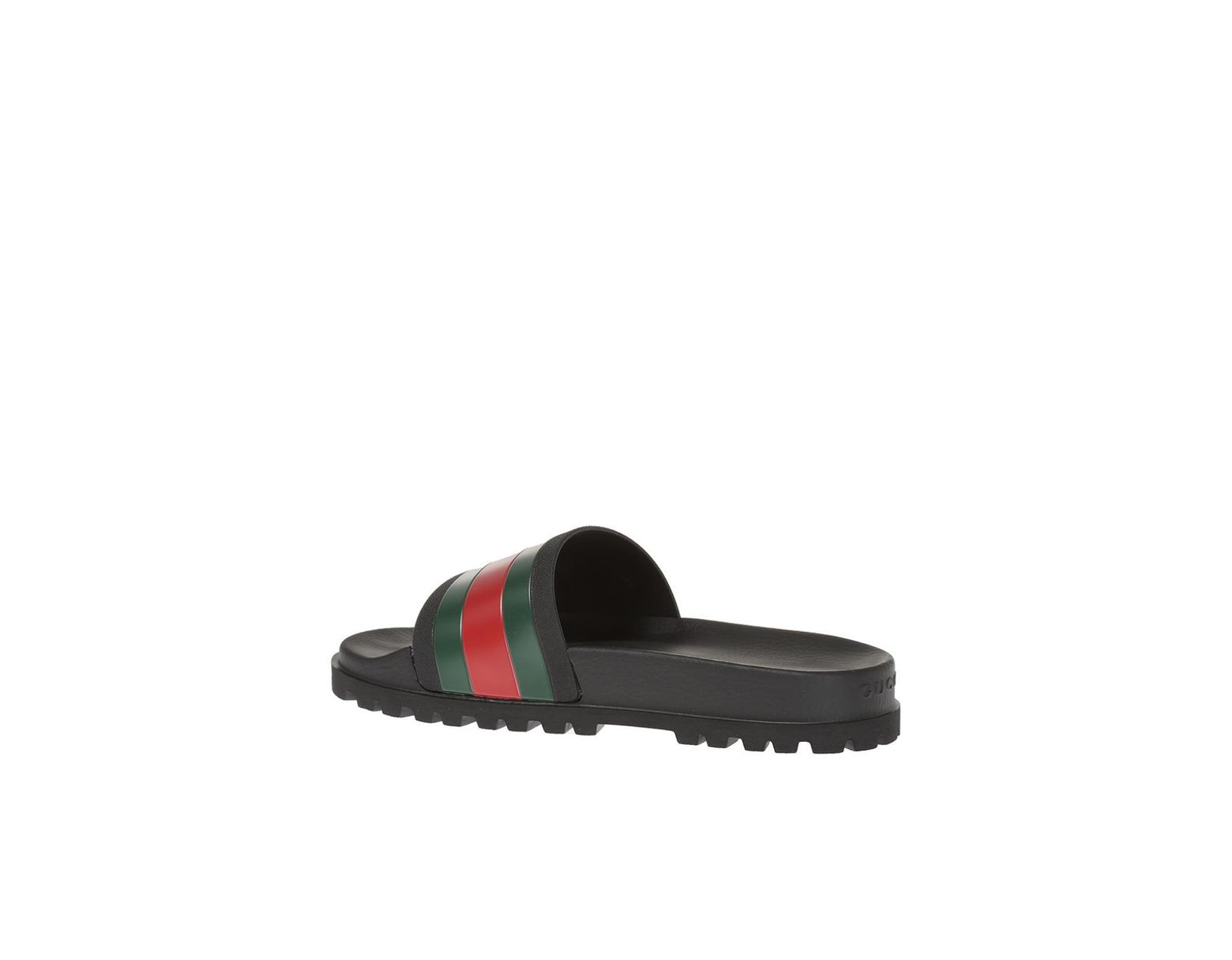 77d214befe07 Lyst - Gucci Striped Web Rubber Slides in Black for Men - Save 30%
