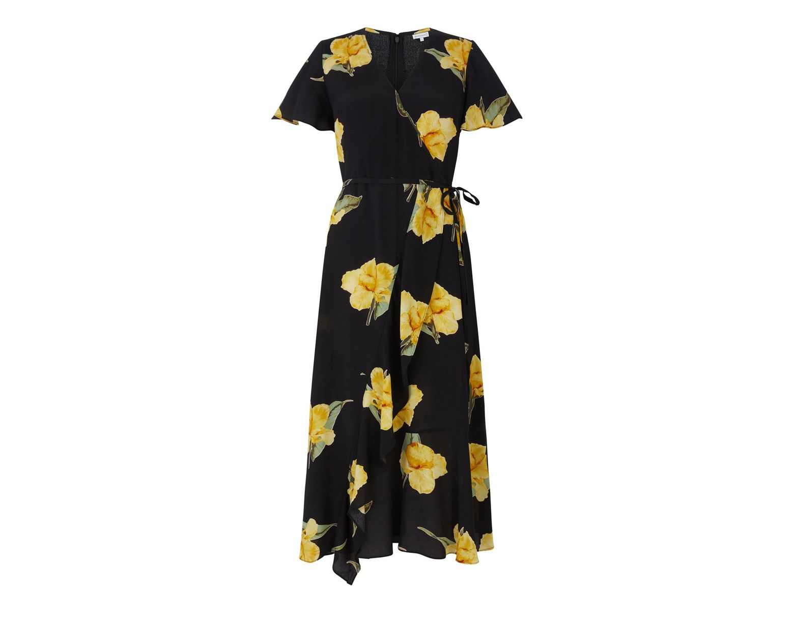5aa2ba82ca5e Warehouse Yellow Floral Midi Wrap Dress in Black - Lyst