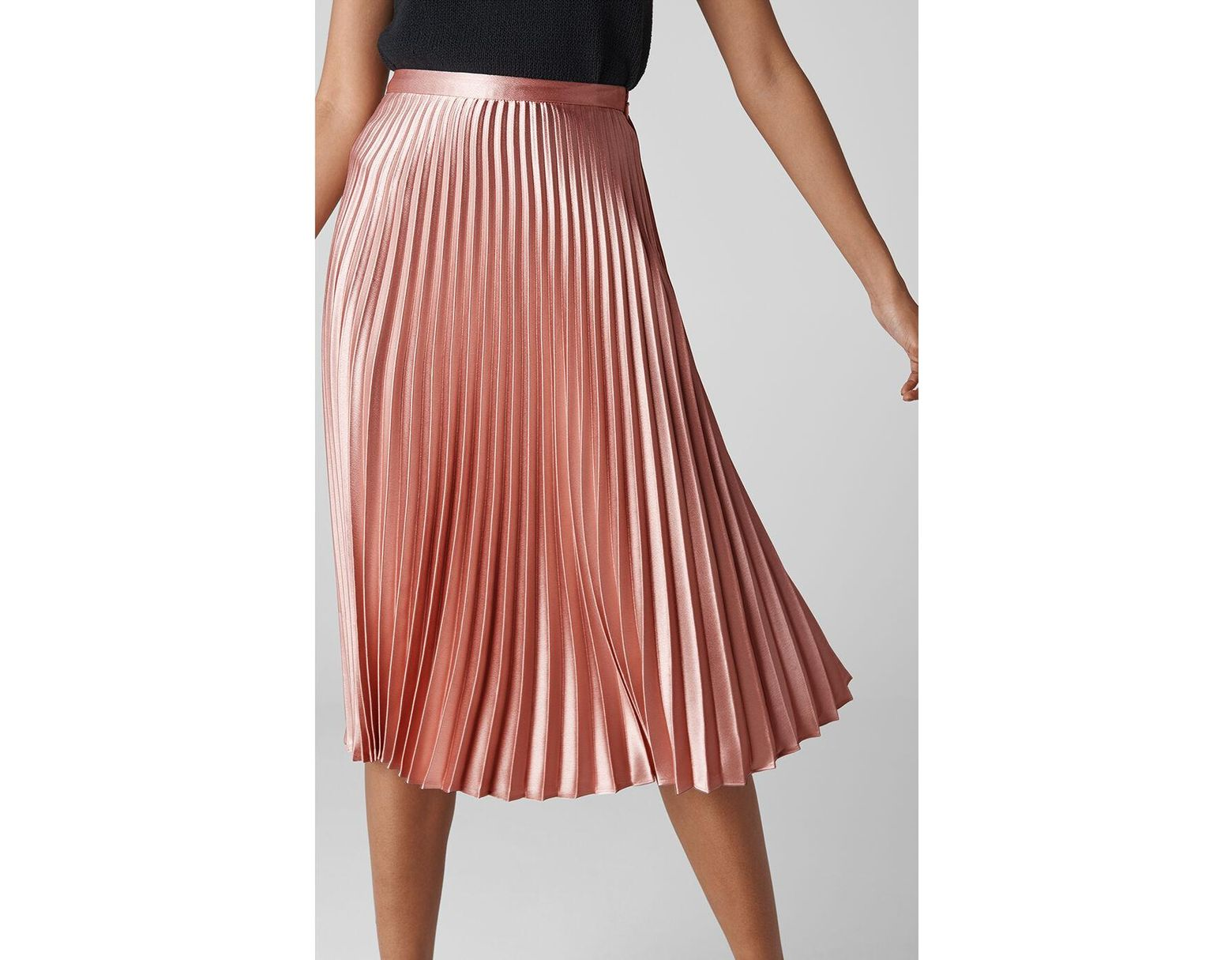 3928b78be9 Whistles Satin Pleated Skirt in Pink - Lyst