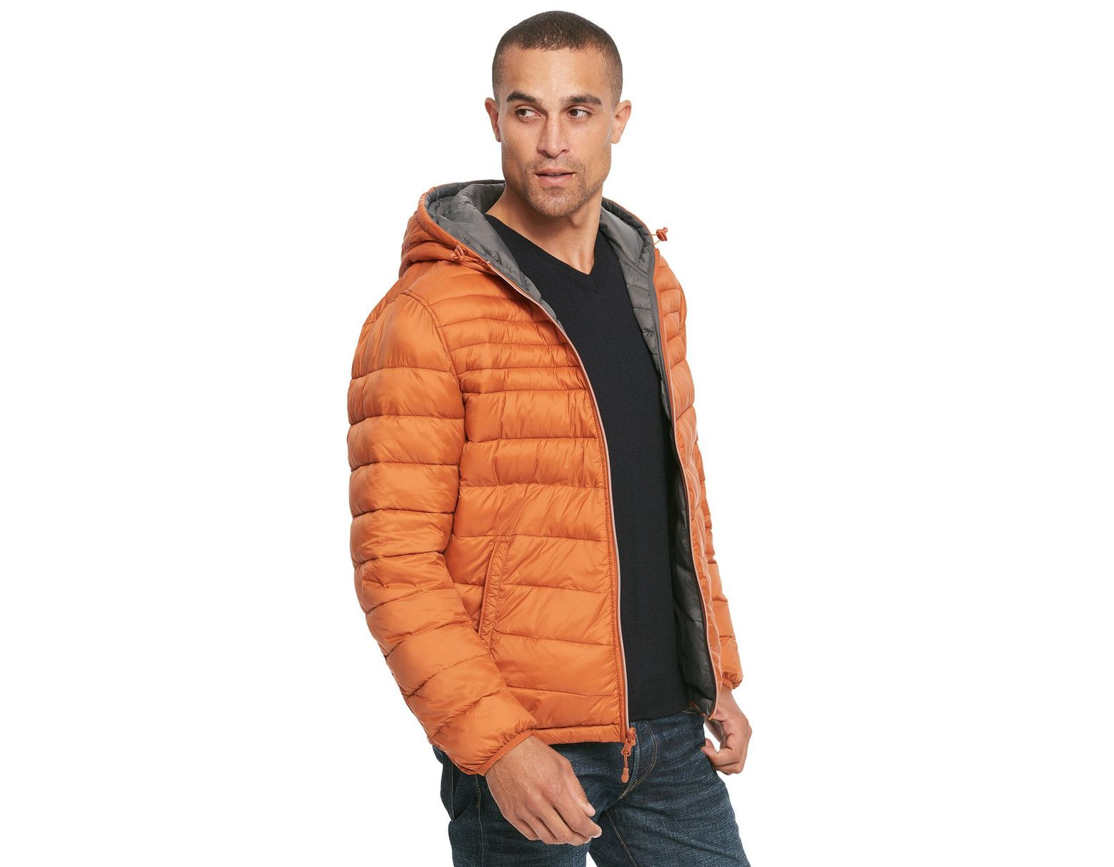 0c15078dda4 Lyst - Wilsons Leather Designer Brand Hooded Reversible Quilted Puffer  Jacket in Orange for Men - Save 20%