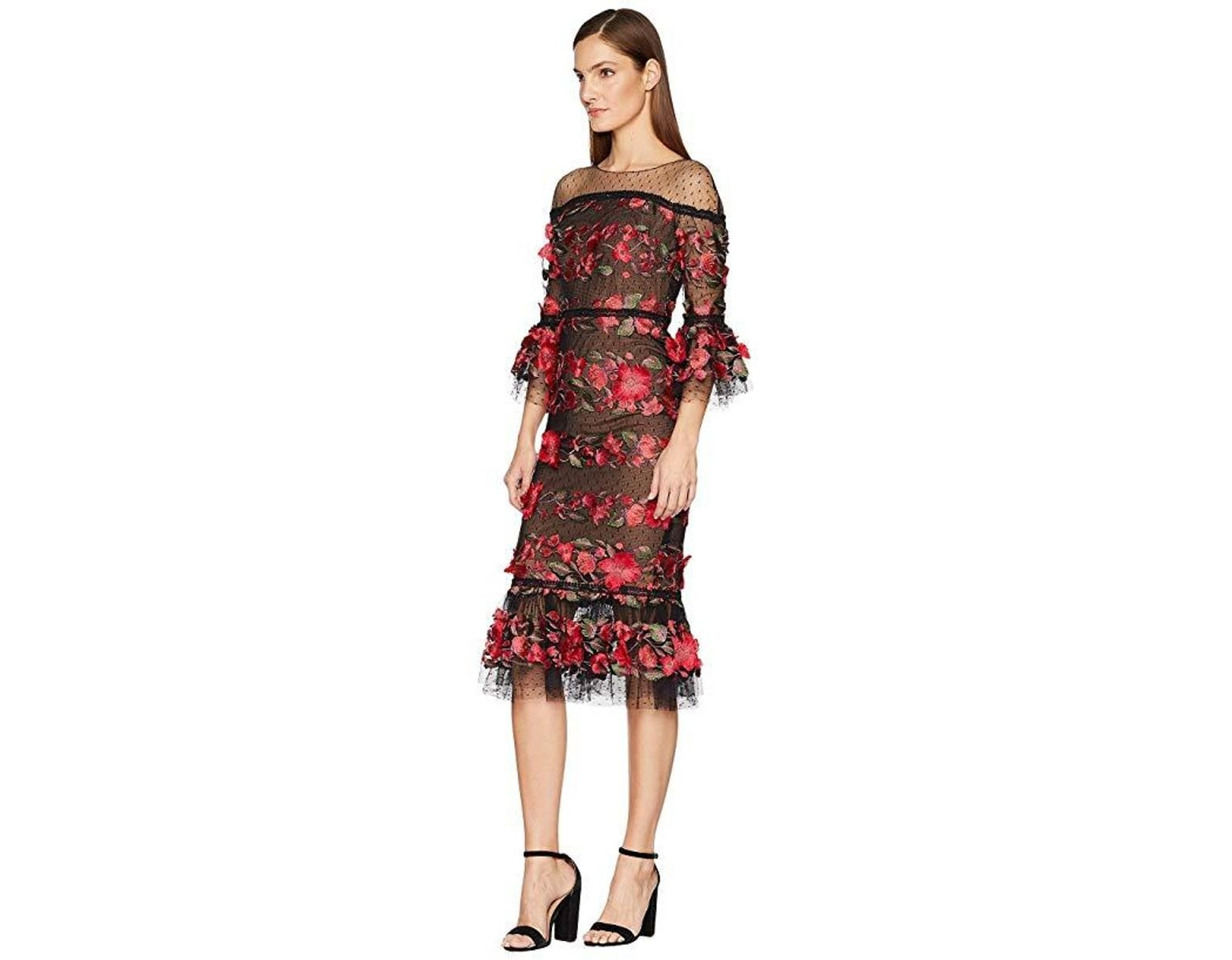 f10c537d Marchesa notte 3/4 Length Bell Sleeve Fringe Floral Embroidered Cocktail  With Point D'esprit Ruffle Hem in Black - Lyst
