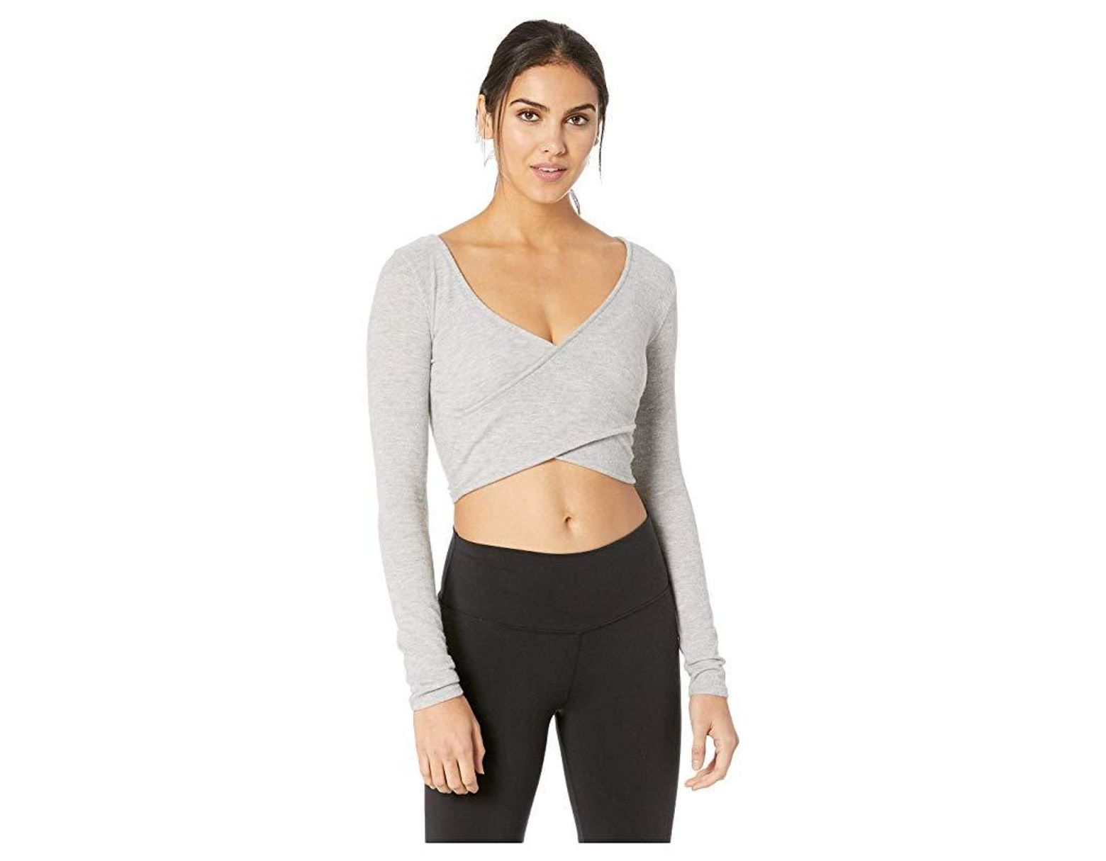 95558b3dc41 Alo Yoga Amelia Luxe Long Sleeve Crop in Gray - Lyst