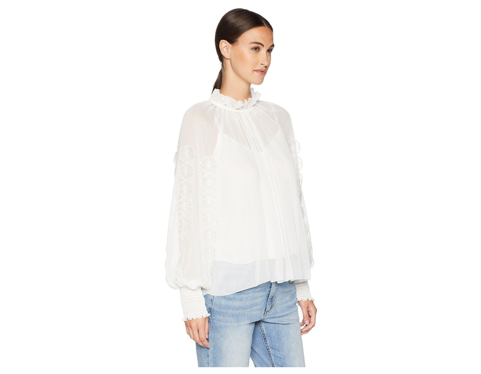 See by chloé floral applique blouse white women s clothing in