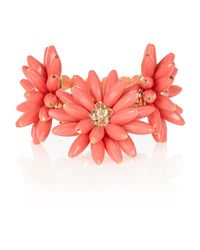 River Island - Orange Coral 3d Flower Stretch Bracelet - Lyst