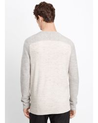 Vince - White Wool Linen Jaspé Colorblocked Crew Neck Sweater for Men - Lyst