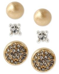 Kenneth Cole | Metallic Two-tone Pavé Circle And Crystal Stud Earring Set | Lyst