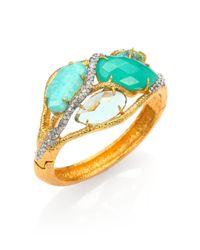Alexis Bittar | Metallic Elements Maldivian Amazonite, Chrysoprase & Crystal Vine Bracelet | Lyst