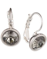 Nine West | Metallic Silver-tone Faceted Stone Leverback Earrings | Lyst