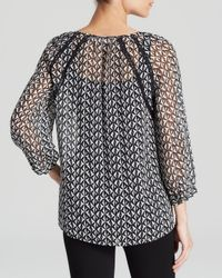 Two By Vince Camuto - Black Printed Peasant Blouse - Lyst