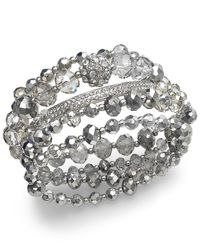 INC International Concepts | Metallic Silver-tone Bead Stretch Bracelet | Lyst