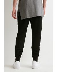 Forever 21 - Black Perforated Kangaroo Pocket Sweatpants for Men - Lyst