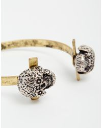 ASOS | Metallic Bangle With Skull Ends for Men | Lyst