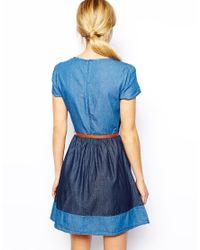 Oasis - Blue Patch Denim Dress - Lyst
