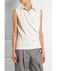 Carven   White Draped Crepe And Satin Top   Lyst