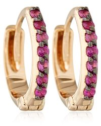 Kismet by Milka | Pink Rose Gold And Ruby Mini Hoops | Lyst