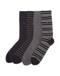Tommy Hilfiger | Black Plain And Stripe Sock Four Pack for Men | Lyst