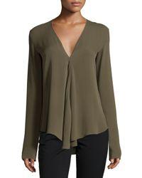 Theory | Green Meniph Long-sleeve Silk Top | Lyst
