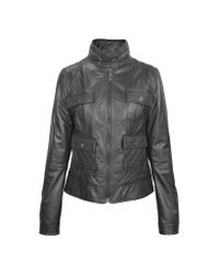 FORZIERI | Gray Black Motorcycle Leather Jacket | Lyst