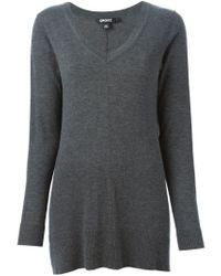 DKNY - Gray V-neck Sweater - Lyst