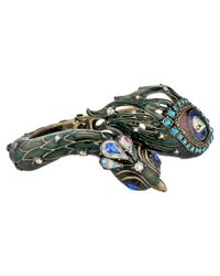 Betsey Johnson - Multicolor Wrapped Up Gold Peacock Hinge Bangle - Lyst