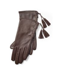 Ralph Lauren | Brown Lace-up Leather Gloves | Lyst