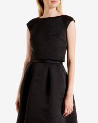 Ted Baker - Black Ribbed Crop Top - Lyst