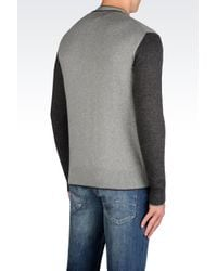 Armani Jeans | Gray Cardigan In Cotton Blend for Men | Lyst