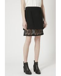 TOPSHOP | Black A-Line Overlay Lace Skirt | Lyst