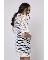 TOPSHOP | White Mesh Oversized Tunic Dress By Escapology | Lyst