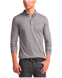 BOSS Orange | Gray Long-sleeved Polo Shirt 'patcherman' In Cotton for Men | Lyst