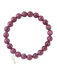 Sydney Evan | 8Mm Natural Ruby Beaded Bracelet With 14K Yellow Gold/Diamond Small Evil Eye Charm (Made To Order) | Lyst