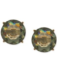 Anne Klein | Gold-tone Green Round Stone Stud Earrings | Lyst