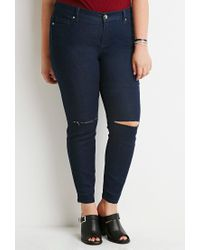 Forever 21 - Blue Plus Size Ripped Skinny Jeans - Lyst