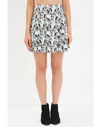 Forever 21 | Blue Floral Print Skater Skirt | Lyst