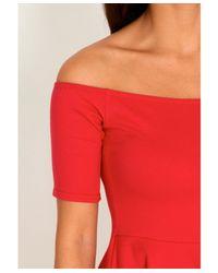 Missguided - Red Mirabela Value Bardot Skater Dress - Lyst