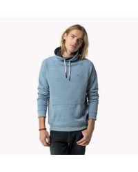 Tommy Hilfiger | Blue Cotton Blend Funnel Neck Sweatshirt for Men | Lyst