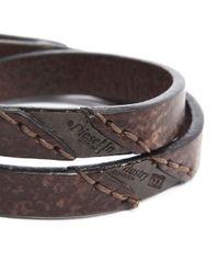DIESEL | Agefty Brown Leather Bracelet for Men | Lyst