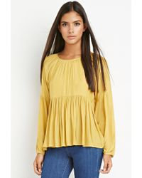 Forever 21 | Yellow Contemporary Tiered Peasant Blouse | Lyst