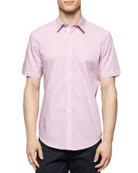 Calvin Klein | Purple Regular Fit Engineered Yarn Dye Check Sportshirt for Men | Lyst