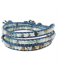 Aeravida | Multicolor Medley Multistone Triple Wrap Braided Leather Bracelet | Lyst
