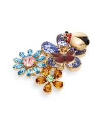 Dolce & Gabbana | Multicolor Rainbow Stone Floral & Ladybug Ring | Lyst