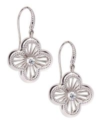 Roberto Coin | Metallic Art Nouveau Clover Diamond Earrings | Lyst