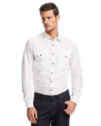 Kenneth Cole | White Solid Military Sportshirt for Men | Lyst