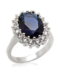 Michela Multicolor Oval Faux Sapphire Ring With Cubic Zirconia