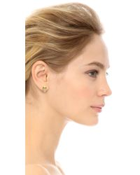kate spade new york | Metallic Owl Stud Earrings - Clear | Lyst