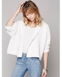 Free People | White Cropped Zip Hoodie | Lyst