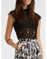 Oasis | Black High Neck Lace T-shirt | Lyst