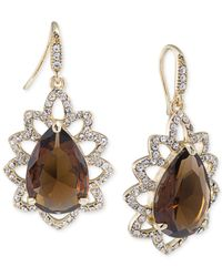 Carolee | Gold-tone Brown Crystal Teardrop Earrings | Lyst