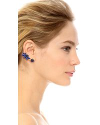 Oscar de la Renta | Blue Navette Crystal Cuff Earrings - Cobalt | Lyst